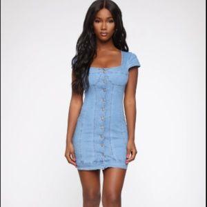 Fashion Nova Think Sweet Denim Dress - Light Wash